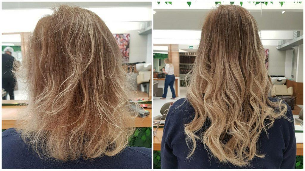 Antes e depois de alongamento feito, em cabelo loiro, com as Microcápsulas de queratina By Rosy Fharia